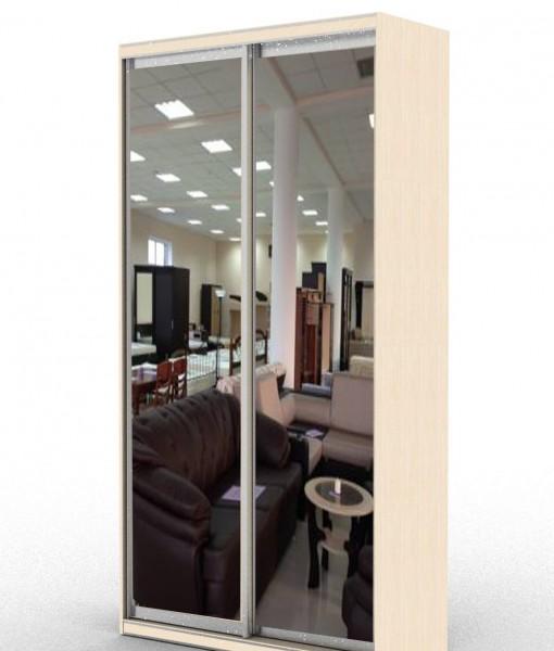стандартный шкаф-купе с двумя зеркальными дверьми