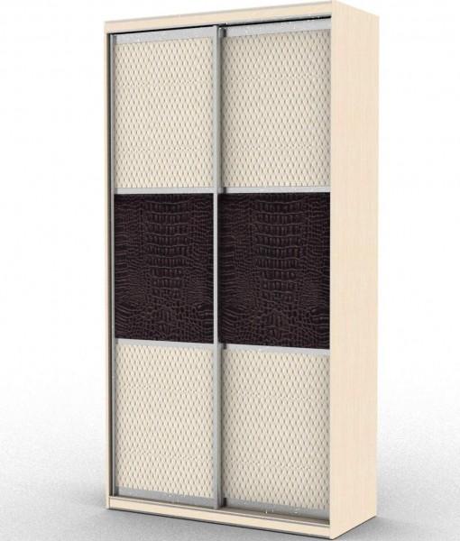 стандартный шкаф-купе с двумя дверьми и одной вставкой из кожи
