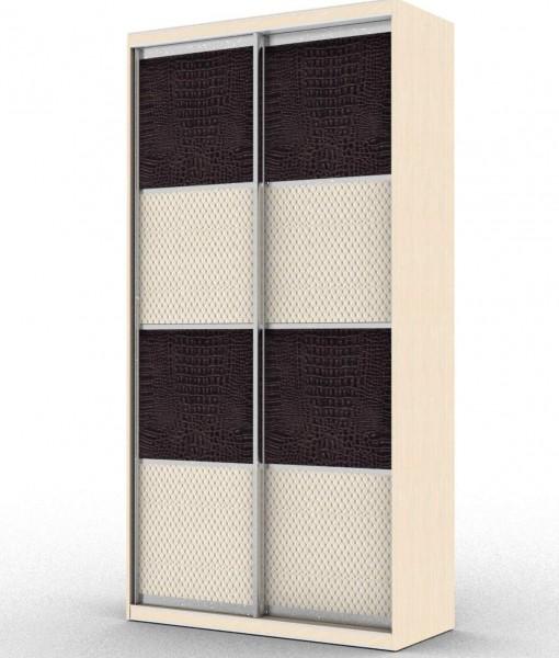 стандартный шкаф-купе с двумя дверьми и двумя вставками из кожи